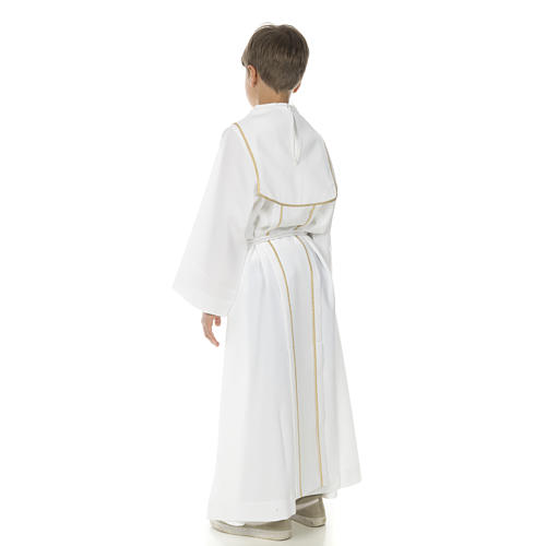 First Communion alb for boy with honeycomb embroidery 3