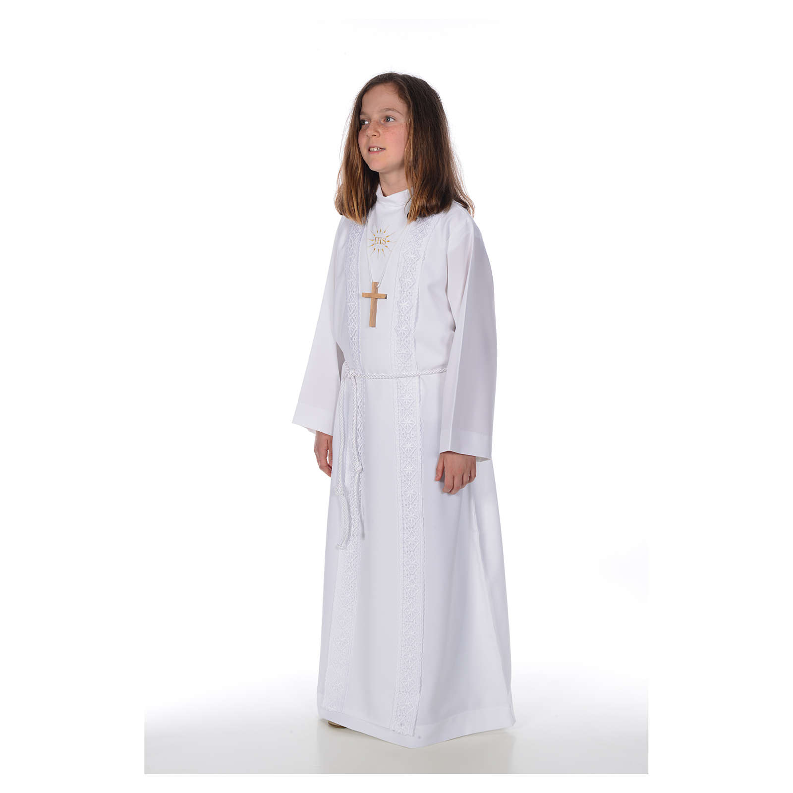 First Communion alb for girl, macramé embroidery 4
