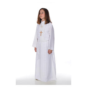 First Communion alb for girl, macramé embroidery s2