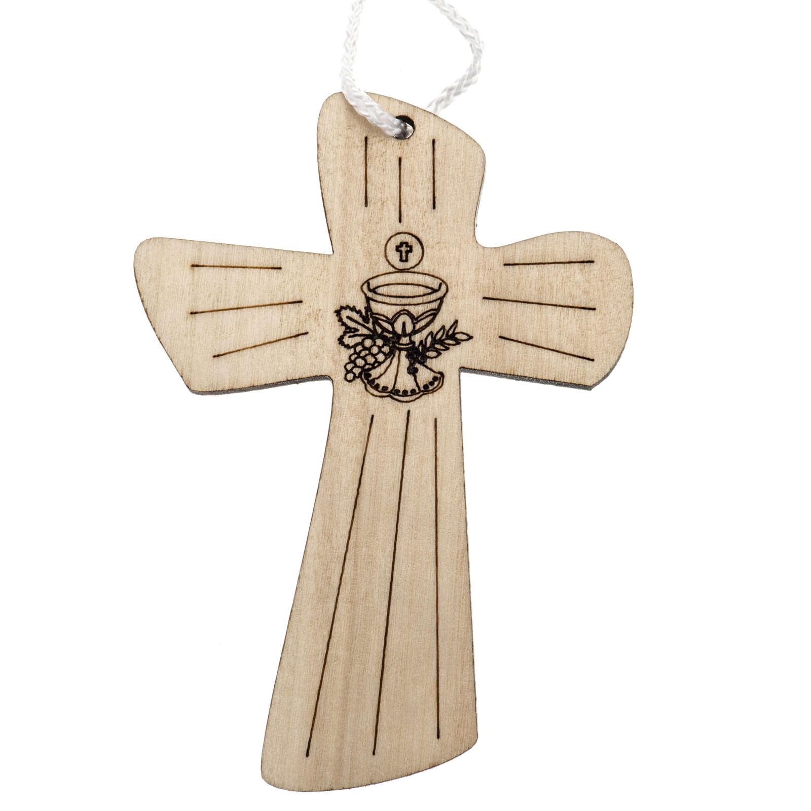 Holzkreuz für Erstkommunion mit Kelch- und Hostienmotiv 9,8x7,2 cm 4
