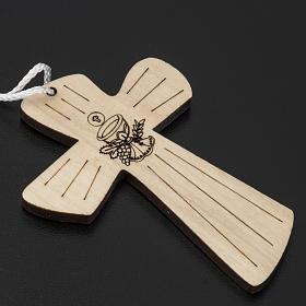 Holzkreuz für Erstkommunion mit Kelch- und Hostienmotiv 9,8x7,2 cm s2