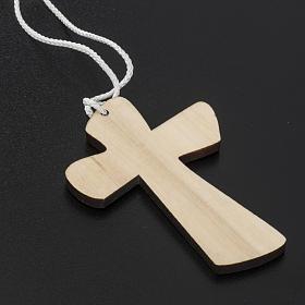 Holzkreuz für Erstkommunion mit Kelch- und Hostienmotiv 9,8x7,2 cm s4