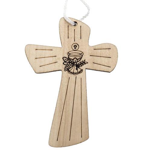Holzkreuz für Erstkommunion mit Kelch- und Hostienmotiv 9,8x7,2 cm 1