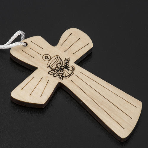 Holzkreuz für Erstkommunion mit Kelch- und Hostienmotiv 9,8x7,2 cm 2
