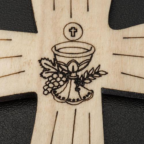 Holzkreuz für Erstkommunion mit Kelch- und Hostienmotiv 9,8x7,2 cm 3