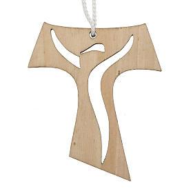 Holzkreuz für Erstkommunion durchbrochen gearbeitetes Motiv Wiederauferstandener 9,3x8 cm s1