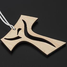 Holzkreuz für Erstkommunion durchbrochen gearbeitetes Motiv Wiederauferstandener 9,3x8 cm s2