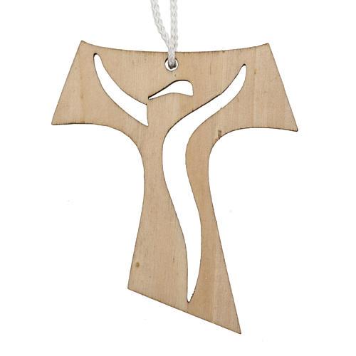 Holzkreuz für Erstkommunion durchbrochen gearbeitetes Motiv Wiederauferstandener 9,3x8 cm 1