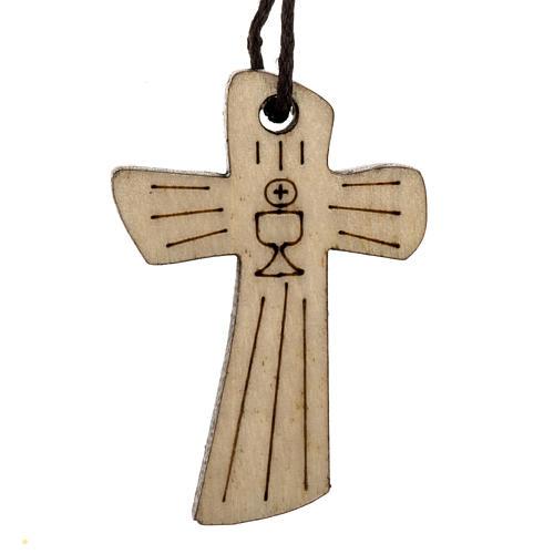Croix première communion bois calice hostie 4,1x2,7 cm 1