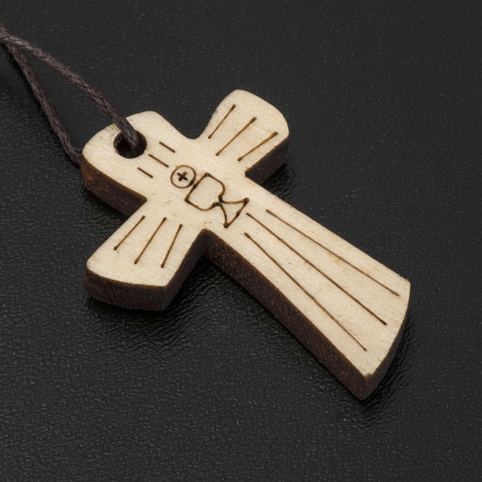 Croce Prima Comunione legno calice ostia 4,1x2,7cm 4