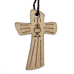 Croce Prima Comunione legno calice ostia 4,1x2,7cm s1
