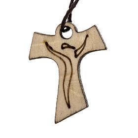 Krzyż Pierwsza Komunia Tau drewno wizerunek Zmartwychwstałego 3.3x2.4 cm s1