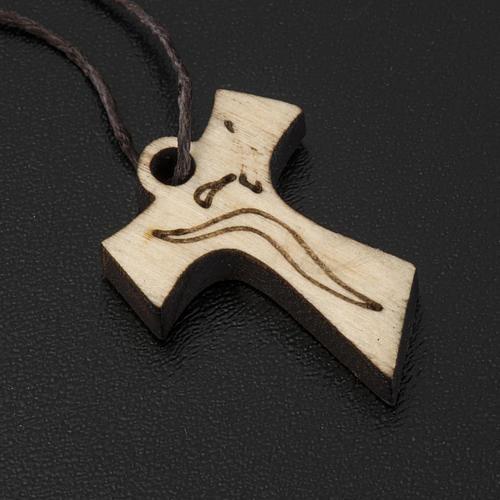 Krzyż Pierwsza Komunia Tau drewno wizerunek Zmartwychwstałego 3.3x2.4 cm 2