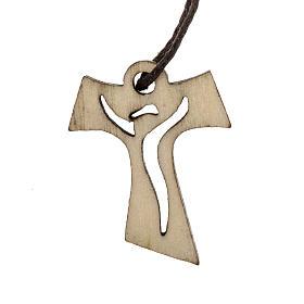 Holzkreuz für Erstkommunion in Tau-Form durchbrochen gearbeitetes Motiv Wiederauferstandener 3,3x2,4 cm s1