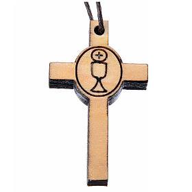 Aubes communion, profession de foi: Croix première communion bois calice 3,9x2,1 cm