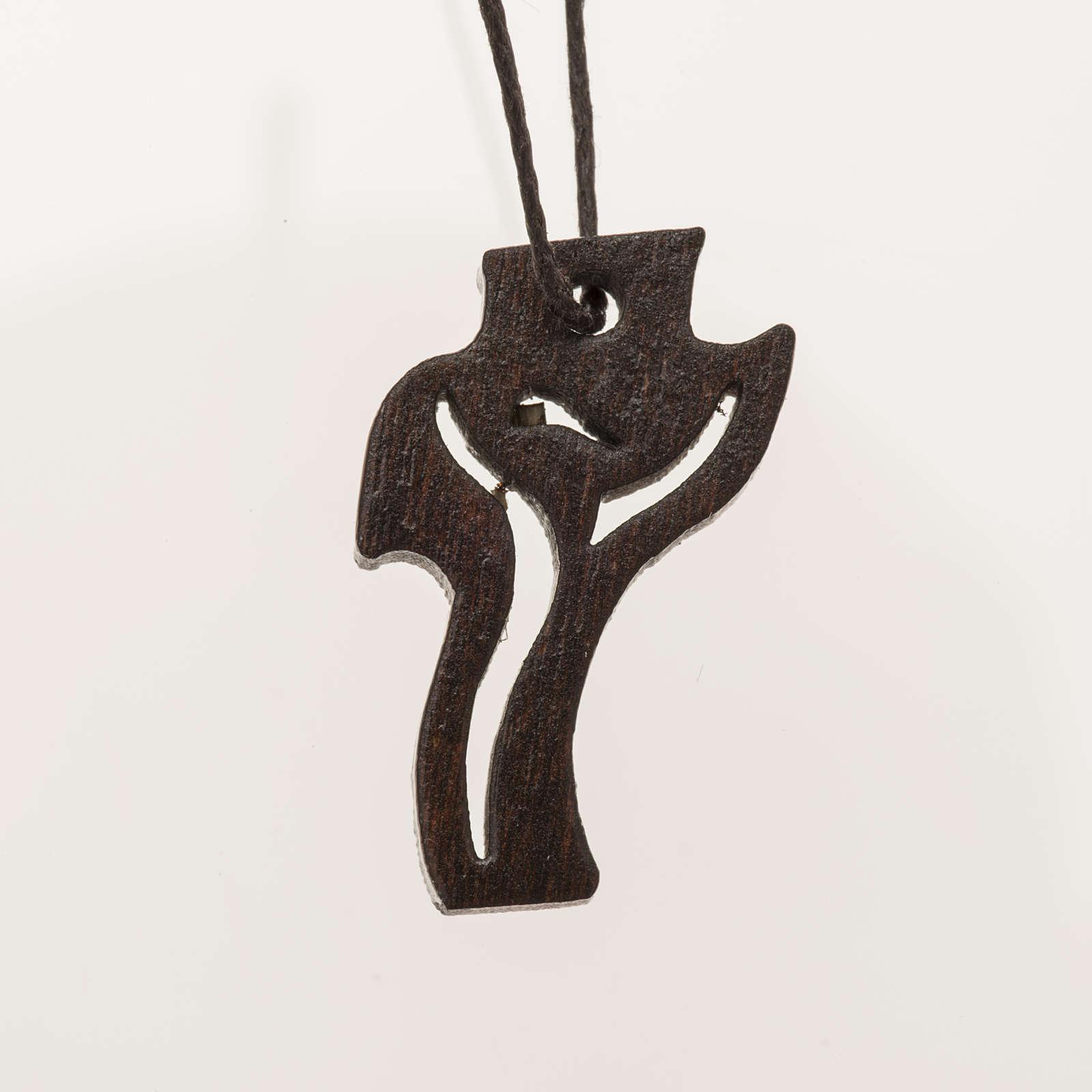 dunkles Holzkreuz für Erstkommunion Motiv Wiederauferstandener 3,6x2,0 cm 4