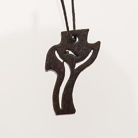 dunkles Holzkreuz für Erstkommunion Motiv Wiederauferstandener 3,6x2,0 cm s1