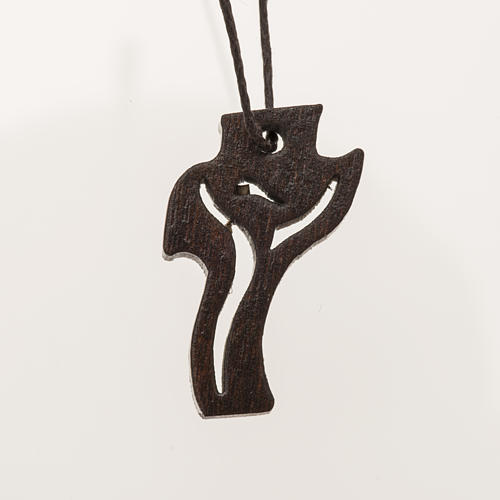 Croce Prima Comunione Risorto legno scuro 3,6x2 cm 1