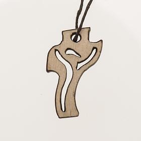 helles Holzkreuz für Erstkommunion Motiv Wiederauferstandener 3,6x2,0 cm s1