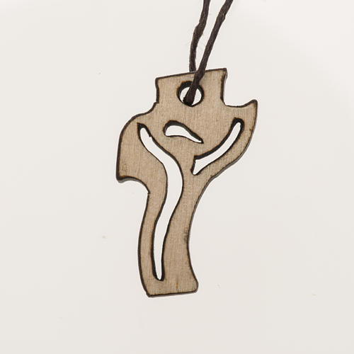 helles Holzkreuz für Erstkommunion Motiv Wiederauferstandener 3,6x2,0 cm 1