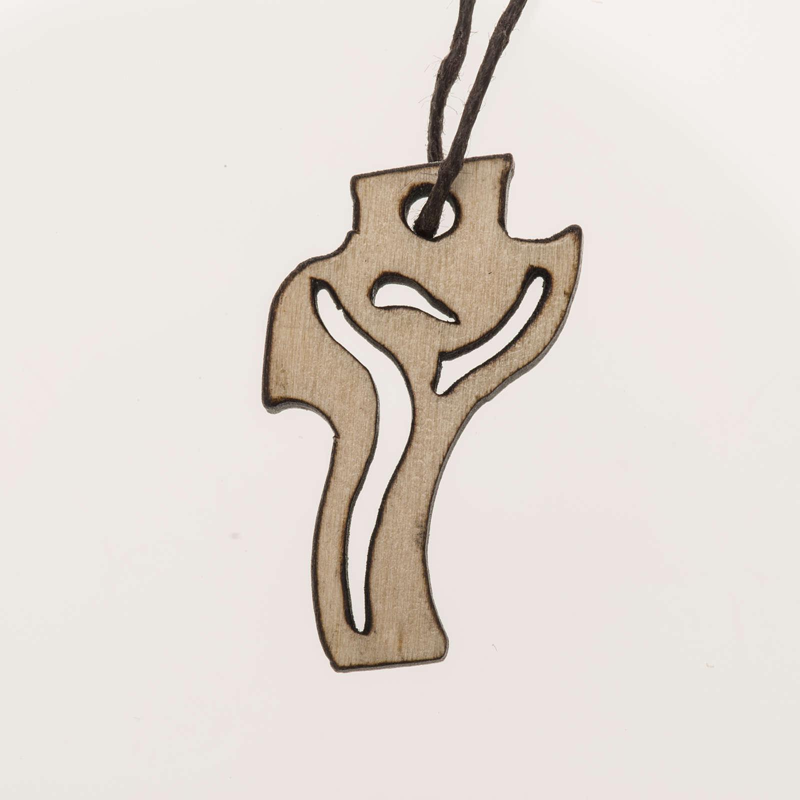 Croce Prima Comunione Risorto legno chiaro 3,6x2 cm 4