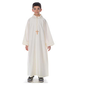 First Communion alb, simple in ivory s1