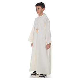 First Communion alb, simple in ivory s2