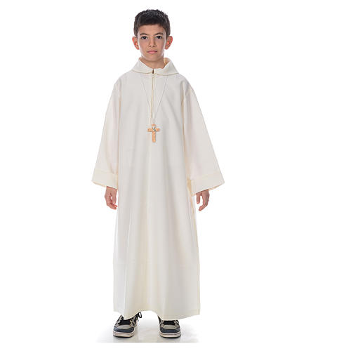 First Communion alb, simple in ivory 1