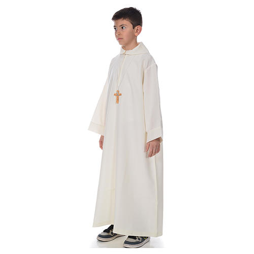 First Communion alb, simple, ivory 2
