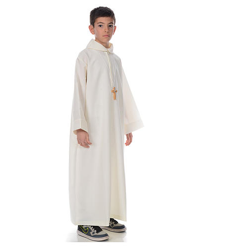 First Communion alb, simple in ivory 4