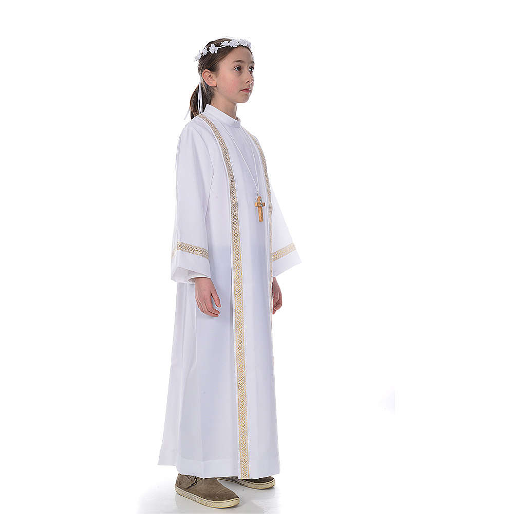 First Holy Communion alb with two golden hems 4