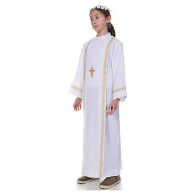 First Holy Communion alb with two golden hems s2