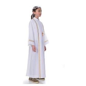 First Holy Communion alb with two golden hems s4