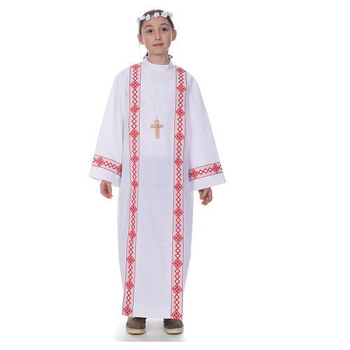 First Communion alb, 2 hems 1