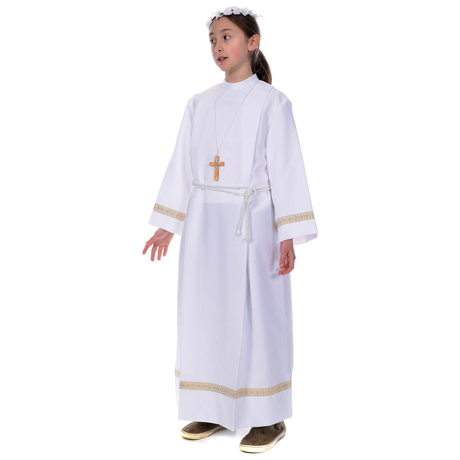 First Communion alb with golden hem 4