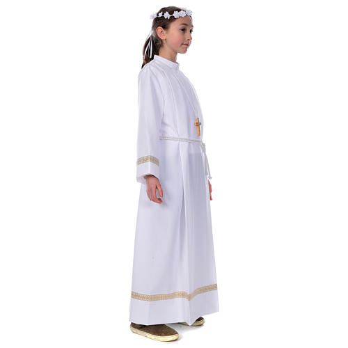 First Communion alb with golden hem 2