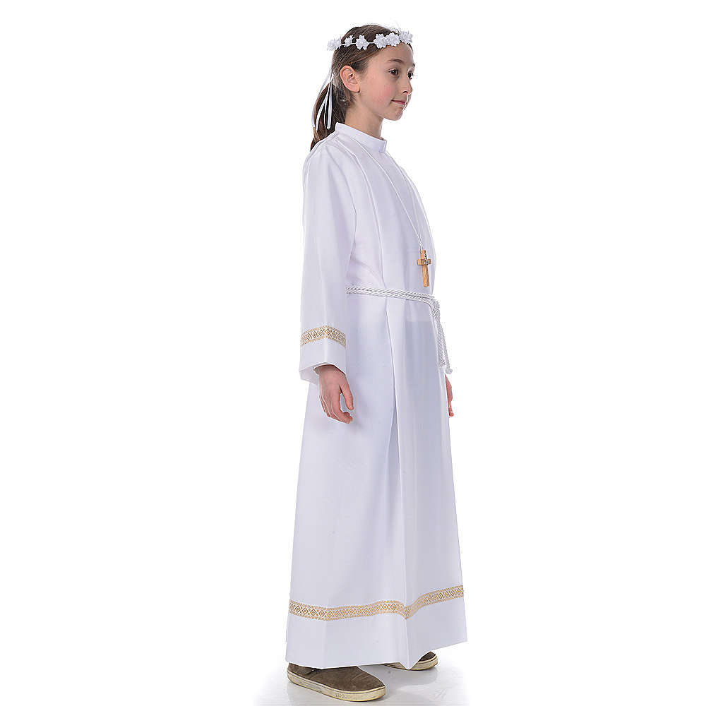 First Communion alb with golden hem 4