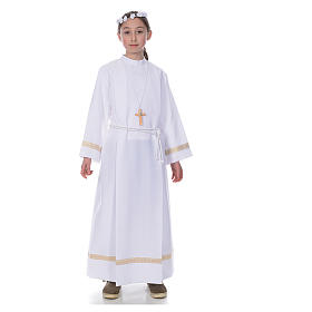 First Communion alb with golden hem s1