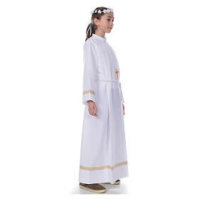First Communion alb with golden hem s4