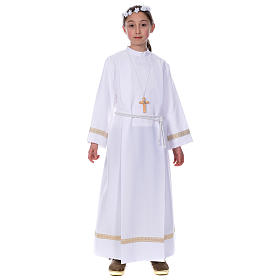 First Holy Communion alb with golden hem s1