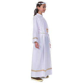First Holy Communion alb with golden hem s2