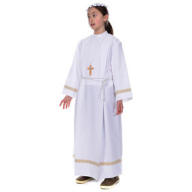 First Holy Communion alb with golden hem s3