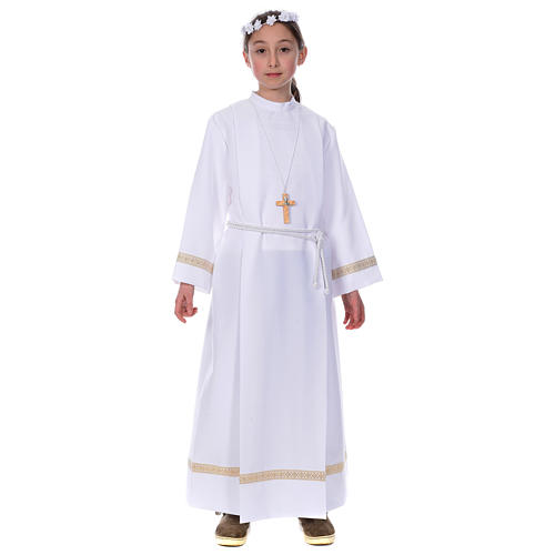 First Holy Communion alb with golden hem 1