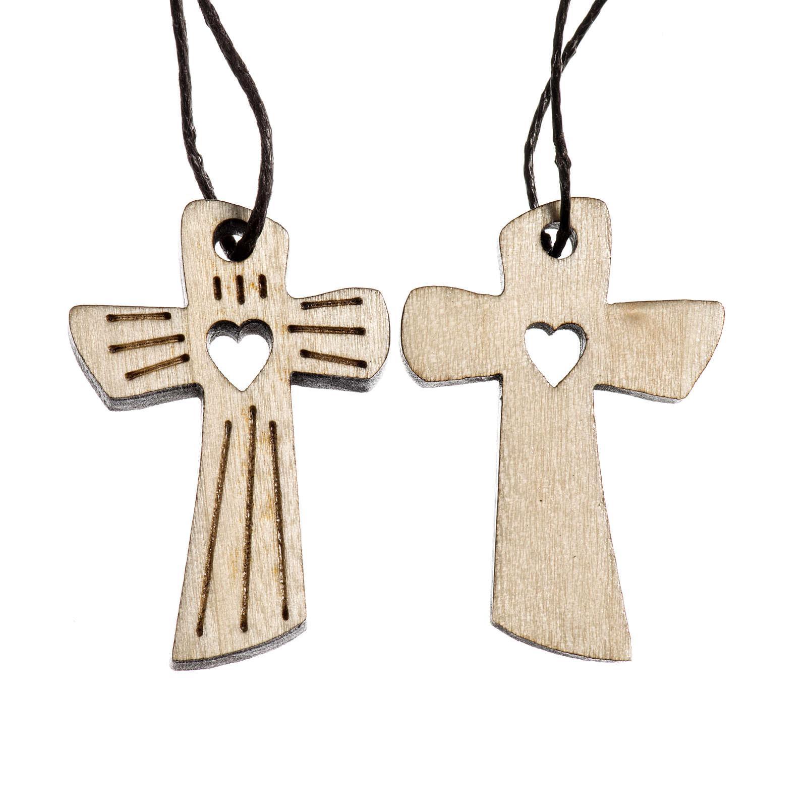 Medalla Comunión madera tallada corazón 4