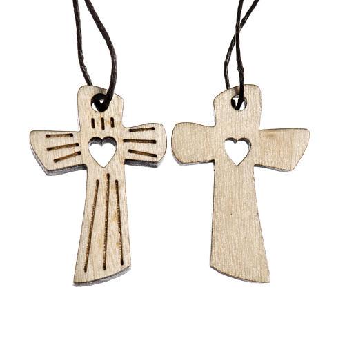 Medalla Comunión madera tallada corazón 1