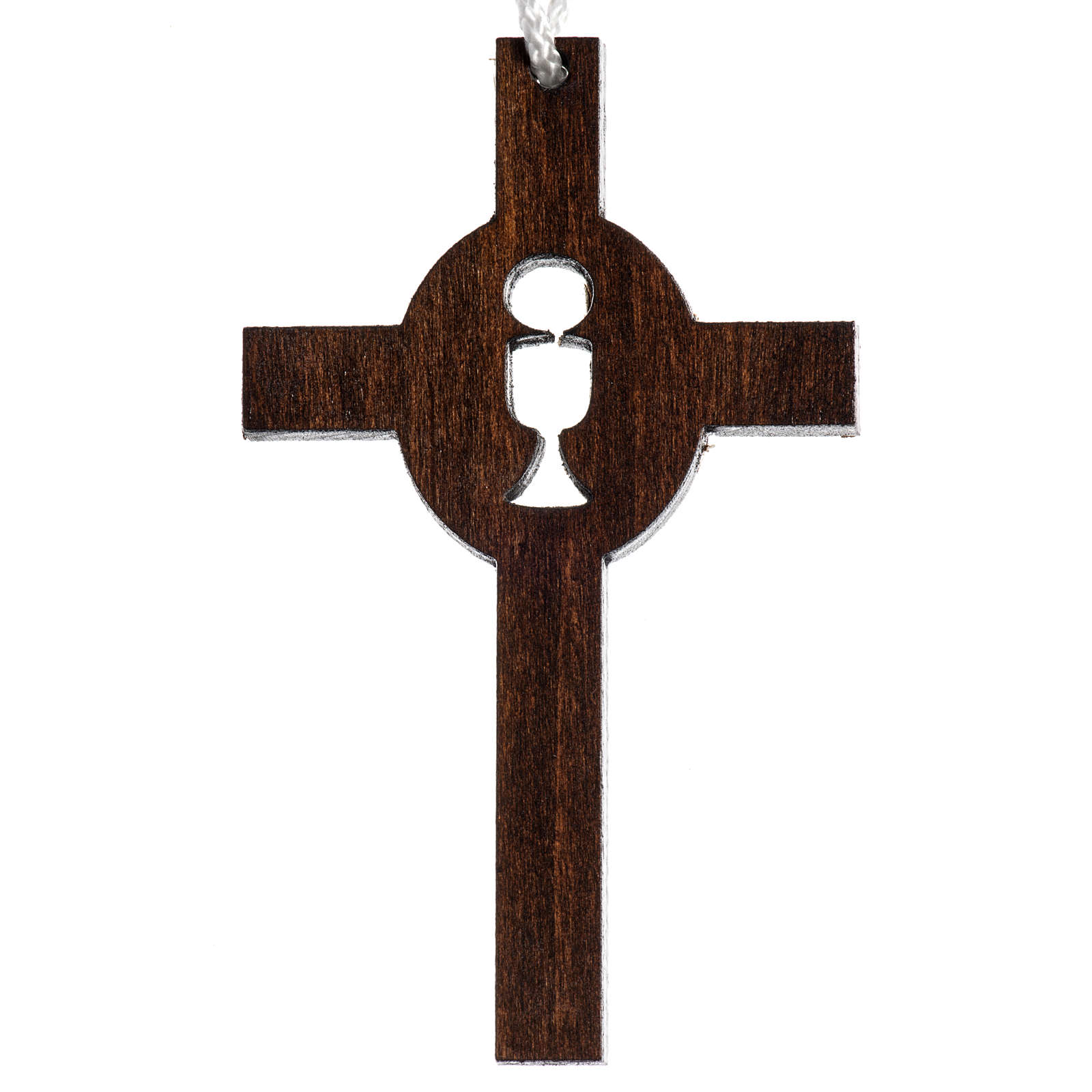 Cruz madera oscura primera comunión cáliz hostia tallados 4