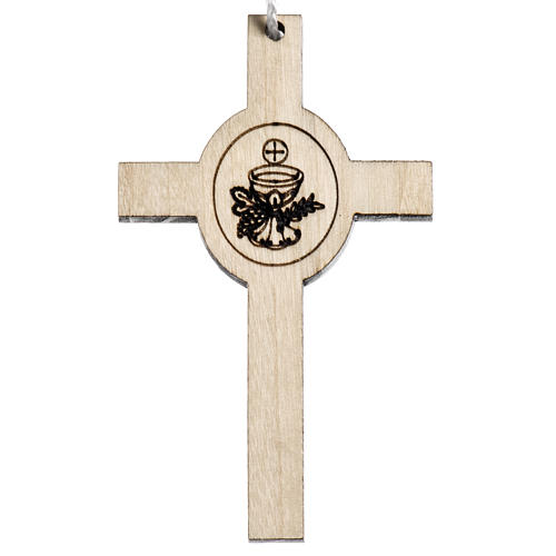 Holzkreuz für Erstkommunion Motiv Kelch und Hostie 1