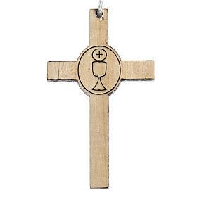 Holzkreuz für Erstkommunion Motiv Kelch und Hostie s1