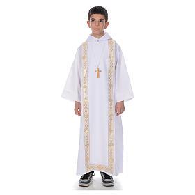 Aubes communion, profession de foi: Aube communion avec scapulaire bord or