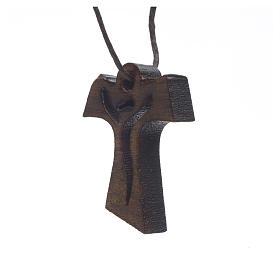 Croce Prima Comunione legno scuro Risorto 3,4x2,4 cm s2